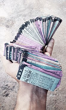 A handful of bus tickets