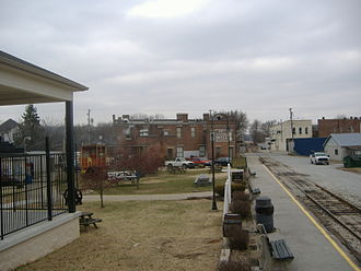 Kentucky Railway Museum - Looking out from the visitor center towards New Haven and the New Sherwood Hotel.