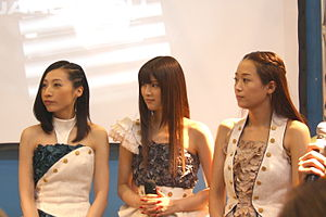 Kalafina - The three vocalists of Kalafina at Japan Expo 2014. From Left: Hikaru, Keiko, Wakana.