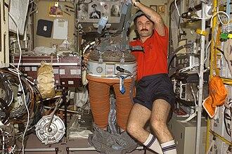 Aleksandr Kaleri - Kaleri inside the Zvezda service module during Expedition 8.