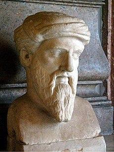 pythagoras bust of pythagoras of samos in the capitoline museums rome