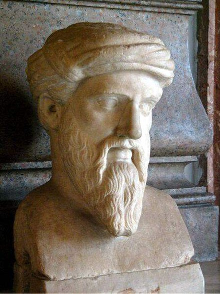 Bust of Pythagoras based on traditional iconography at the Museum Capitolini, Rome. Kapitolinischer Pythagoras adjusted.jpg