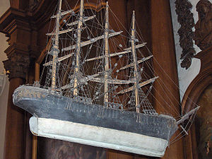 Ship model - Church votive hanging in a church; the workmanship is somewhat crude, but sufficient to identify it as mid-19th-century