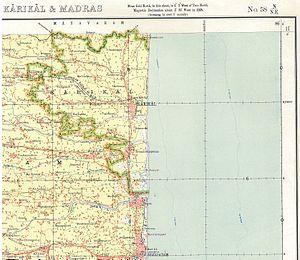 Karaikal district - 1920s map of Karaikal
