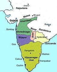Die Dekkan-Sultanate Ahmednagar, Bidar, Bijapur und Golkonda sowie das hinduistische Reich von Vijayanagar im frühen 16. Jahrhundert