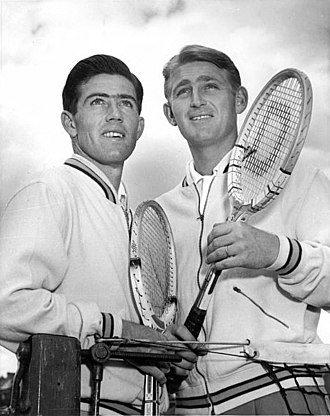 Lew Hoad - Ken Rosewall (l) and Lew Hoad (r) at the 1954 Davis Cup challenge round match against the USA at White City, Sydney.