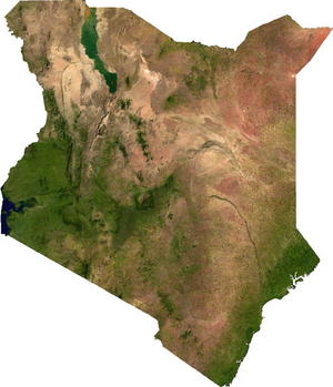Geography of Kenya - A satellite image of Kenya.
