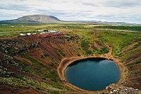 Kerið crater lake view from crater rim towards parking lot.jpg