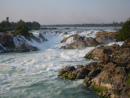 The Khone Falls, on the Mekong River. Khone Phapheng Falls - 1.jpg