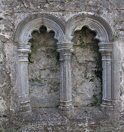 Kilconnell Friary O'Donellan Chapel Double Piscina 2009 09 16.jpg