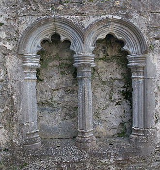Piscina - 16th-century double piscina at the Franciscan friary in Kilconnell