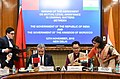 Kiren Rijiju and the Minister of Justice, Government of the Kingdom of Morocco, Mr. Mohamed Aujjar signing an Agreement on Mutual Legal Assistance in Criminal Matters between the two countries, in New Delhi.JPG