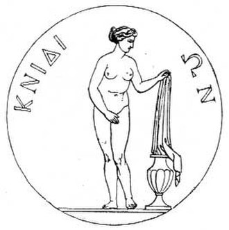 Aphrodite of Knidos - Engraving of a coin from Knidos showing the Aphrodite of Cnidus, by Praxiteles