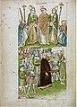 Konstanzer Richental Chronik Verbrennung des Magisters Johannes Hus, Hus wird seiner priesterlichen Würde entkleidet und aus der Stadt geführt 57v.jpg