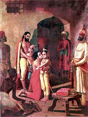 Svayam Bhagavan - Krishna and Balarama meet their father and mother - Vasudeva and Devaki. Thus a personal name of Krishna as Vaasudeva or son of Vasudeva, and Devakinandana, son of Devaki. Painting by Raja Ravi Varma