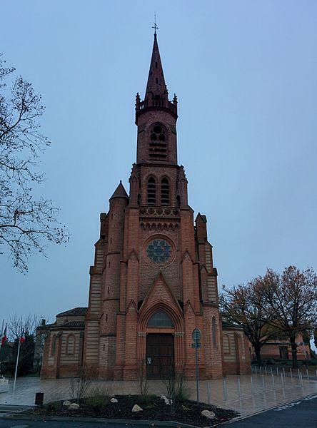 Front view of Saint-Jean Baptiste church of L'Union, Haute-Garonne, France.