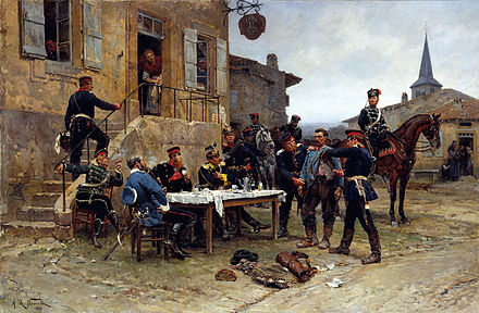 Painting of French spy captured during the Franco-Prussian War