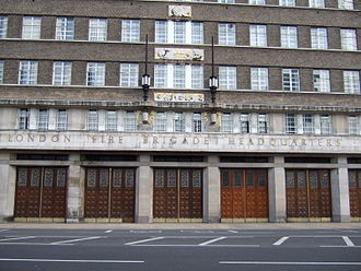 London County Council - The headquarters of the London Fire Brigade on Albert Embankment, opened in 1937