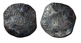 Massachusetts pound - Silver pine tree shilling, dated 1652.