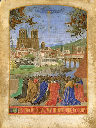 Paris in the Middle Ages - An illustration by Jean Fouquet from about 1450 that depicts the cathedral of Notre-Dame with the rest of Paris in the background