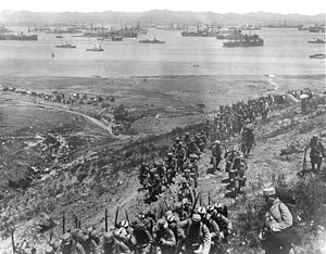 Corps expéditionnaire d'Orient - French troops landing on Lemnos, 1915, prior to the Gallipoli Campaign.