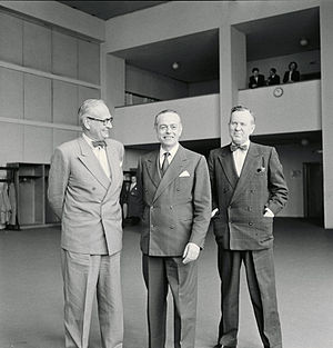 "Halvard Lange - Halvard Lange, left, with Gaetano Martino and Lester B. Pearson, the ""three wise men"" of NATO, in 1956."