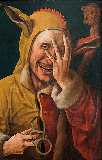 Jester - Laughing jester, unknown Early Netherlandish artist (possibly Jacob Cornelisz van Oostsanen), circa 1500