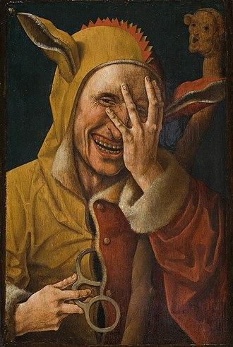 Jester - Laughing jester, unknown Early Netherlandish artist (possibly Jacob Cornelisz van Oostsanen), circa 1500