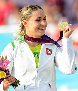 Laura Asadauskaitė - Laura Asadauskaitė in victory ceremony at 2012 Olympics