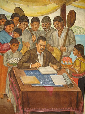 Lázaro Cárdenas - Mural in Jiquilpan, Michoacán of President Lázaro Cárdenas with campesinos.