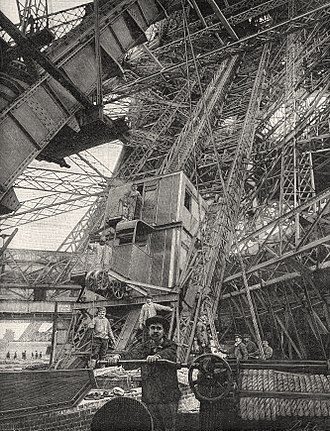 Inclined elevator - Inclined elevator of the Eiffel Tower, 1890s