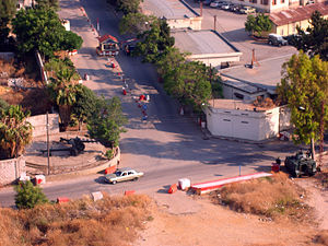 Bab al-Tabbaneh–Jabal Mohsen conflict - Lebanese army checkpoint on the entry to the Qubbe mititary base: LAF Northern Command, taken from Jabal Mohsen, 2011