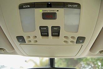 Safety Connect - Overhead module of Lexus IS 250 with Safety Connect emergency assistance (SOS) button
