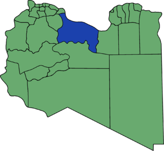 Sirte District - Location of Sirte District from 2001 until 2007, under the 32-shabiyat system.