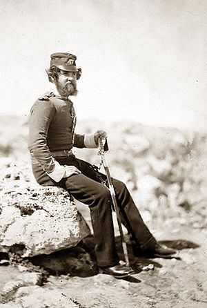 47th (Lancashire) Regiment of Foot - Lieutenant Gaynor of the 47th Regiment photographed on campaign in the Crimea in 1855.