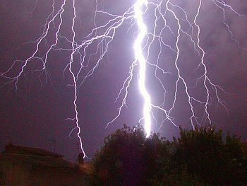 A return stroke, cloud-to-ground lightning strike.