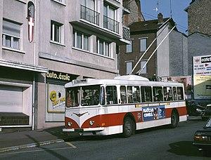 Trolleybuses in Limoges - A Vétra trolleybus in Limoges, 1988.