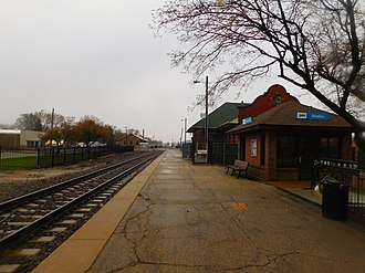 Lincoln station (Illinois) - The 1911 railroad depot in April 2016.