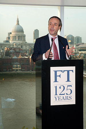 Financial Times - Editor Lionel Barber speaking at the newspaper's 125th anniversary party in London, 2013