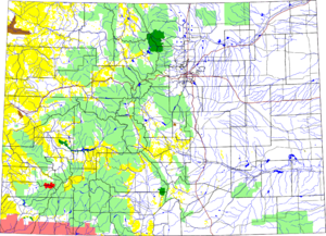 Lizard Head Wilderness - Colorado with Lizard Head Wilderness in red