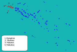 Location of Rangiroa in the Tuamotu Archipelago