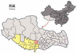 Location of Namling County (red) within Shigatse City (yellow) and the Tibet Autonomous Region