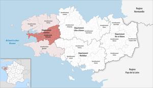 Arrondissement of Châteaulin - Image: Locator map of Arrondissement Châteaulin 2017