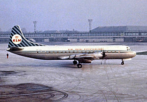 Lockheed L-188 Electra - L188C Electra of KLM Royal Dutch Airlines operating a passenger service at Manchester Airport in 1963