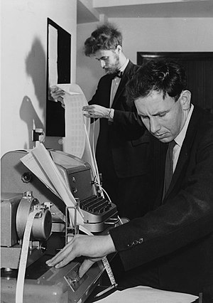 Computational statistics - Students working in the Statistics Machine Room of the London School of Economics in 1964.
