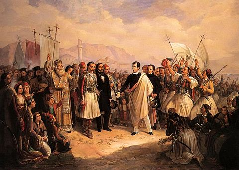"""The Reception of Lord Byron at Missolonghi"" by Theodoros Vryzakis Lord Byron at Missolonghi.jpg"