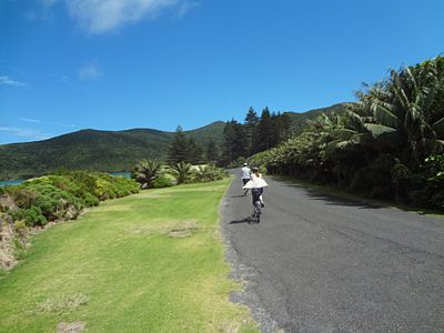 Lord Howe Island Cycling past Lovers Cove.JPG