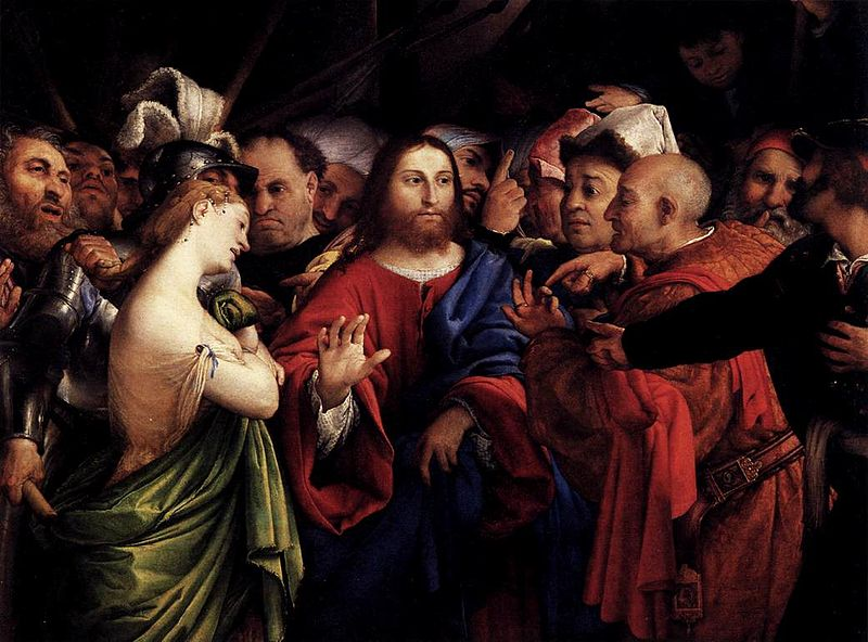 Archivo:Lorenzo Lotto - Christ and the Woman Taken in Adultery - WGA13709.jpg