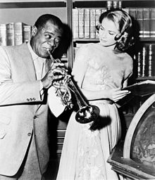 Louis Armstrong e Grace Kelly sul set di High Society, 1956