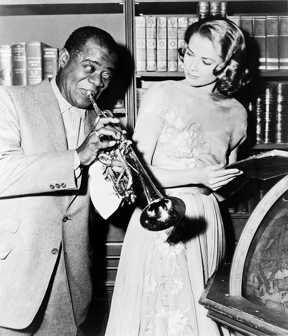 "Louis Armstrong and Grace Kelly on the set of ""High Society"", 1956"